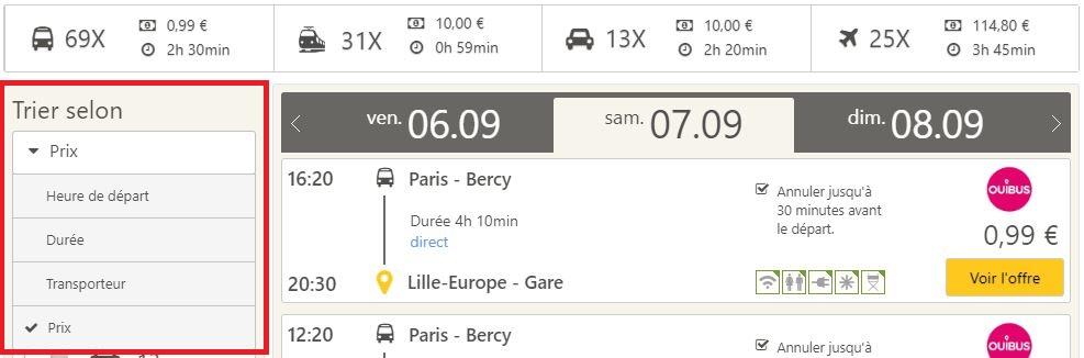 Trouvez le bus le moins cher